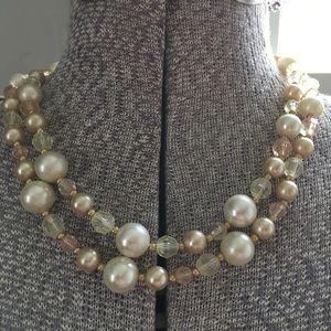 Vintage Multicolored pearl & crystal necklace